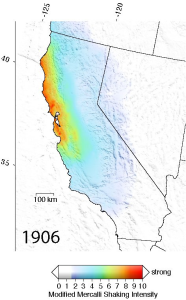 The 1906 earthquake produced much more severe and widespread shaking than the one in 1989.