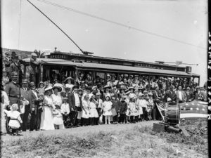 Celebrating the opening of the #6 streetcar, 1912