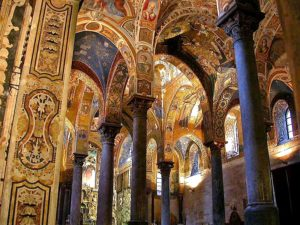 mosaics and frescoes in La Martorana, Norman church, Palermo
