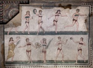 Mosaic at a wealthy Roman villa of women exercising