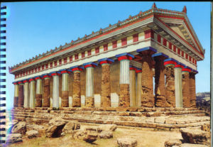 The Greek temple of Hera, at Agrigento --- re-creation of original superimposed on remains